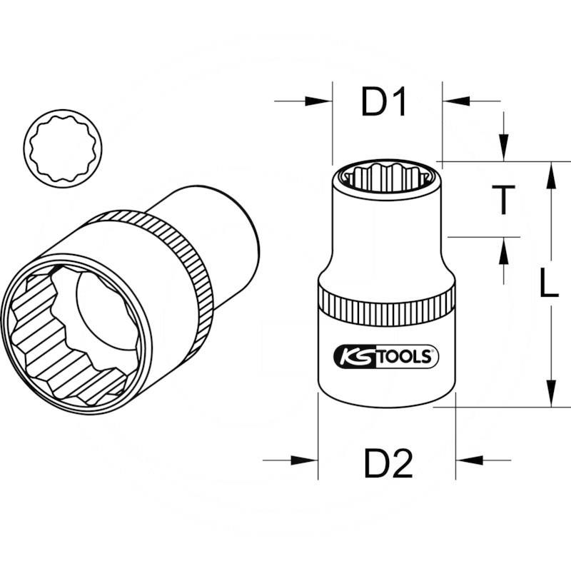 "KS Tools 1"" Bi hex socket,short, 2.1/16"" | zdjęcie nr 2"